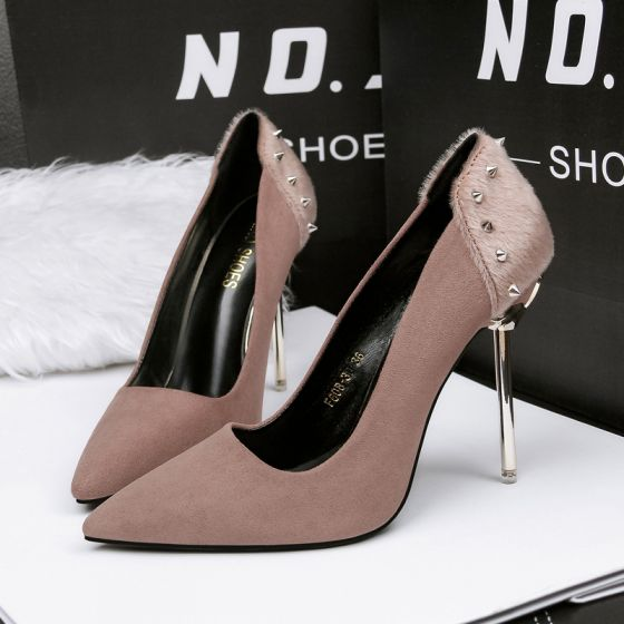 Affordable Khaki Evening Party Pumps 2020 Suede Rivet 10 cm Stiletto Heels Pointed Toe Pumps
