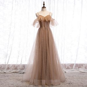 Chic / Beautiful Brown Evening Dresses  2020 A-Line / Princess Spaghetti Straps Short Sleeve Beading Glitter Tulle Floor-Length / Long Ruffle Backless Formal Dresses
