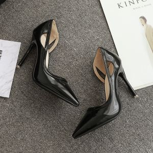 Hermoso Negro High Heels 2017 PU Glitter Fiesta Noche 10 cm Tacones Punta Estrecha Zapatos de novia