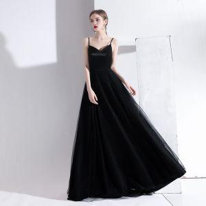 Simple Noire Robe De Soirée 2020 Princesse Bretelles Spaghetti Sans Manches Dos Nu Longue Robe De Ceremonie