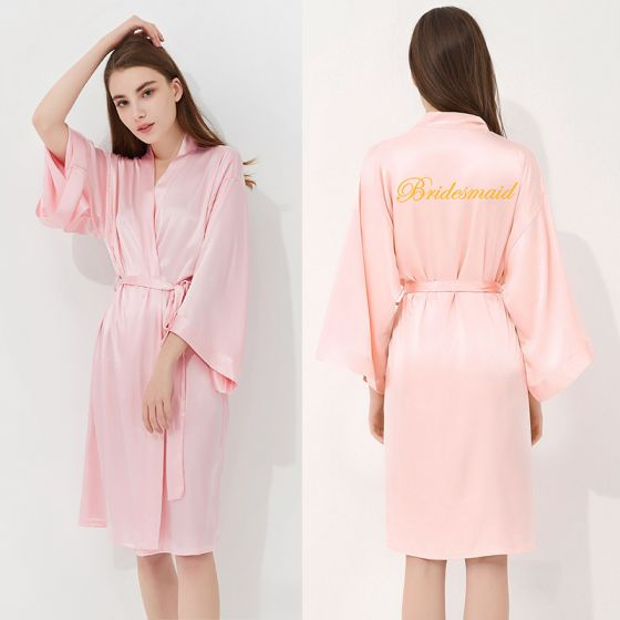 Modest / Simple Candy Pink Wedding Bridal Bridesmaid V-Neck 3/4 Sleeve Silk Robes 2020 Embroidered Sash