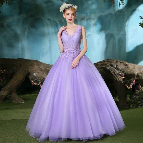 Chic / Beautiful Lilac Prom Dresses 2019 A-Line / Princess V-Neck Beading Appliques Lace Sleeveless Backless Floor-Length / Long Formal Dresses