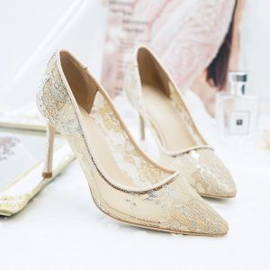Chic / Beautiful Summer Wedding Shoes 2018 Leather Lace 8 cm Stiletto Heels Pointed Toe Wedding Pumps