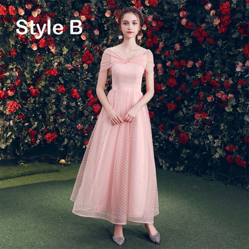 Affordable Pearl Pink Bridesmaid Dresses 2019 A-Line / Princess Spotted Tulle Ankle Length Ruffle Backless Wedding Party Dresses