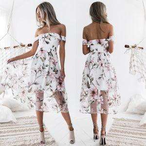 Moderne / Mode Blanche Rendez-vous Robes longues 2018 Princesse Impression De l'épaule Manches Courtes Thé Longueur Vêtements Femme