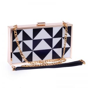 Chic / Beautiful Black White Checked Metal Clutch Bags 2018