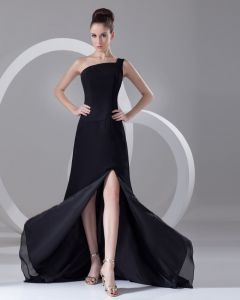 Sexy Solid One Shoulder Chiffon Floor Length Chapel Train Women Prom Dress