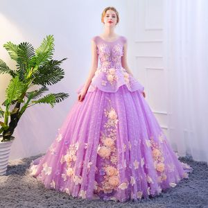 Chic / Beautiful Lilac Prom Dresses 2019 A-Line / Princess Scoop Neck Appliques Lace Flower Pearl Backless Sleeveless Chapel Train Formal Dresses