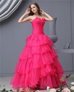 Ball Gown Organza Sweetheart Applique Bead Handmade Flower Floor Length Quinceanera Prom Dresses