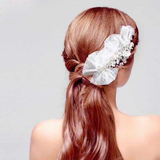 Blonder Blomst Krystal Brude Hovedbeklædning Bryllup Hår Tilbehør