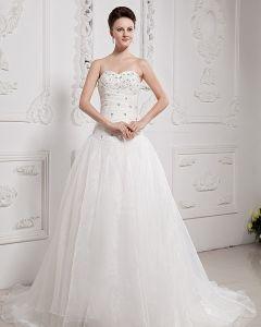 Beading Sweetheart Yarn Chapel Bridal Ball Gown Wedding Dress