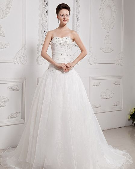 Beading Sweetheart Yarn Chapel Bridal Ball Gown Wedding Dress