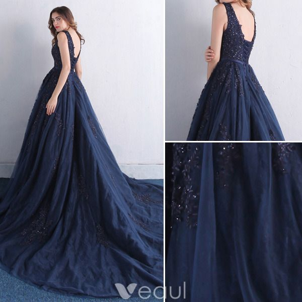 Elegante Galajurken 2016 V-hals Applique Kant Met Pailletten Marineblauwe Tule Lange Jurk