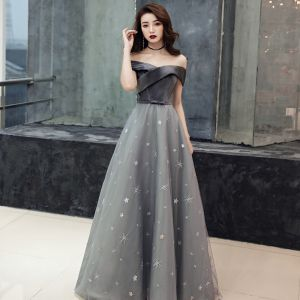 Chic / Beautiful Grey Suede Evening Dresses  2019 A-Line / Princess Off-The-Shoulder Short Sleeve Sequins Star Bow Sash Court Train Ruffle Backless Formal Dresses