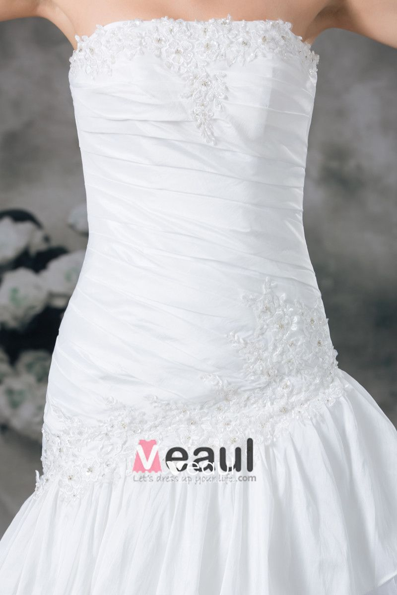 Strapless Taffeta Pleated Layered Floor Length Chapel Train A Line Wedding Dress