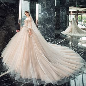 Victorian Style Champagne Wedding Dresses 2019 Ball Gown Off-The-Shoulder Puffy 3/4 Sleeve Backless Appliques Lace Beading Cathedral Train Ruffle