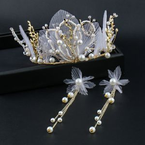 Elegant Gold Tiara Earrings Bridal Jewelry 2020 Metal Pearl Silk Flower Wedding Accessories