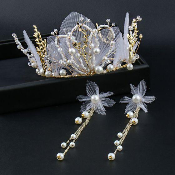 Elegant Gold Tiara Earrings Bridal Jewelry 2020 Metal Pearl Silk Flower Wedding Accessories