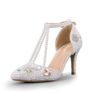 Fabulous White Wedding Beading Pearl Rhinestone Wedding Shoes 2018