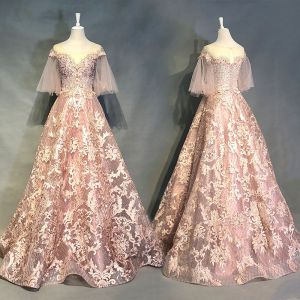 Luxury / Gorgeous Pearl Pink Evening Dresses  2018 A-Line / Princess Appliques Lace Beading Crystal Rhinestone Sequins Scoop Neck Backless 1/2 Sleeves Floor-Length / Long Formal Dresses