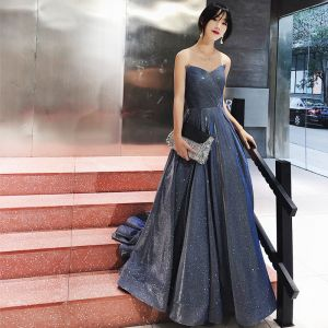 Charming Ocean Blue Evening Dresses  2019 A-Line / Princess Strapless Glitter Polyester Sleeveless Backless Sweep Train Formal Dresses