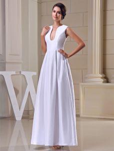Uniques A-ligne Épaules U-cou Satin Blanc Longue Robe De Soirée
