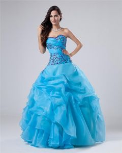 Ball Gown Sleeveless Yarn Satin Embroidery Ruffles Applique Sweetheart Floor Length Quinceanera Prom Dresses