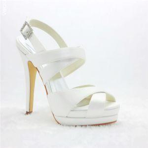 Mooie Witte Bruidsschoenen Strappy Trouwschoenen Stilettos Met Platform