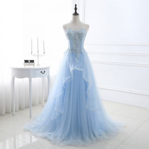 Chic / Beautiful Sky Blue Prom Dresses 2018 A-Line / Princess Lace Appliques Crystal Sequins Sweetheart Backless Sleeveless Sweep Train Formal Dresses