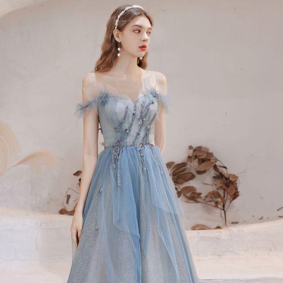 Stunning Sky Blue Prom Dresses 2021 A-Line / Princess Scoop Neck Sleeveless Glitter Ruffle Tulle Floor-Length / Long Evening Party Formal Dresses