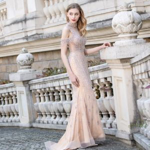 High-end Champagne See-through Red Carpet Evening Dresses  2020 Trumpet / Mermaid Deep V-Neck Sleeveless Beading Rhinestone Sweep Train Ruffle Backless Formal Dresses