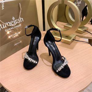 Enkel Svart Gateklær Sandaler Dame 2020 Ankelstropp Rhinestone 10 cm Stiletthæler Peep Toe Sandaler