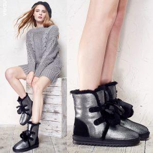 Mode Schneestiefel 2017 Schwarz Leder Ankle Boots Lackleder Schnüren Schleife Freizeit Winter Flache Stiefel Damen