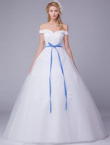 Elegant Wedding Dresses 2016 Off The Shoulder Applique Lace Ball Gown Wedding Dress With Blue Sash
