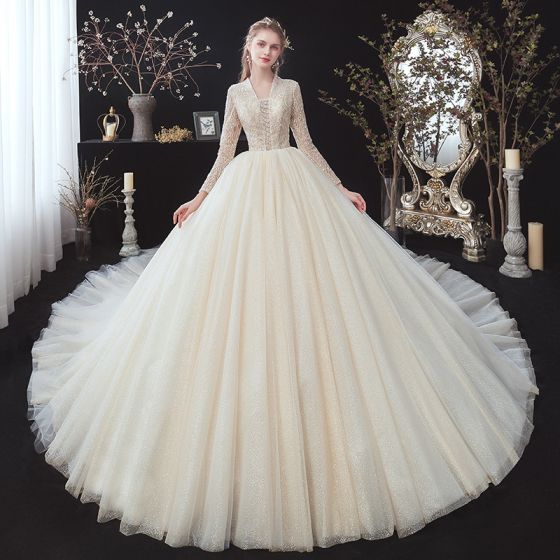 Elegant Champagne Glitter Wedding Dresses 2020 Ball Gown V-Neck Beading Rhinestone Sequins Lace Flower Long Sleeve Backless Royal Train