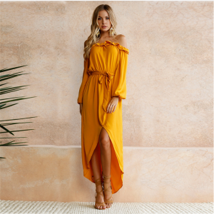 Chic / Beautiful Yellow Casual Summer Maxi Dresses 2018 Sash Asymmetrical Split Front Off-The-Shoulder Long Sleeve Women's Clothing