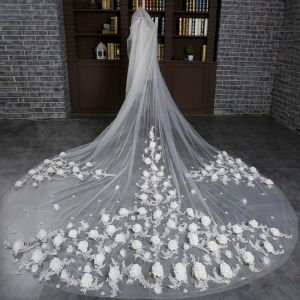 Chic / Beautiful White 2017 Tulle Church Appliques Embroidered Wedding Veils