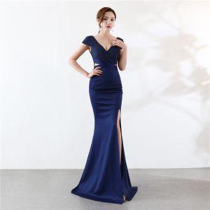 Chic / Beautiful Navy Blue Evening Dresses  2019 Trumpet / Mermaid V-Neck Beading Crystal Short Sleeve Backless Split Front Floor-Length / Long Formal Dresses