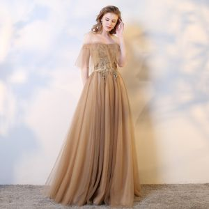Chic / Belle Champagne Robe De Soirée 2019 Princesse Sans Manches Perlage Paillettes Perle Cristal De l'épaule Dos Nu Longue Robe De Ceremonie