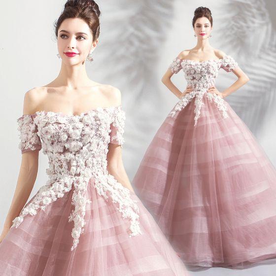 Eleganckie Rumieniąc Różowy Sukienki Na Bal 2018 Suknia Balowa Z Koronki Kwiat Aplikacje Perła Cekiny Przy Ramieniu Bez Pleców Kótkie Rękawy Długie Sukienki Wizytowe