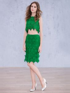 Robes De Soirée De Mode 2016 Dentelle Verte Robe Longueur Genou