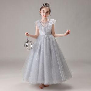 Schöne Grau Geburtstag Blumenmädchenkleider 2020 Ballkleid Durchsichtige Rundhalsausschnitt Ärmellos Perlenstickerei Pailletten Lange Rüschen