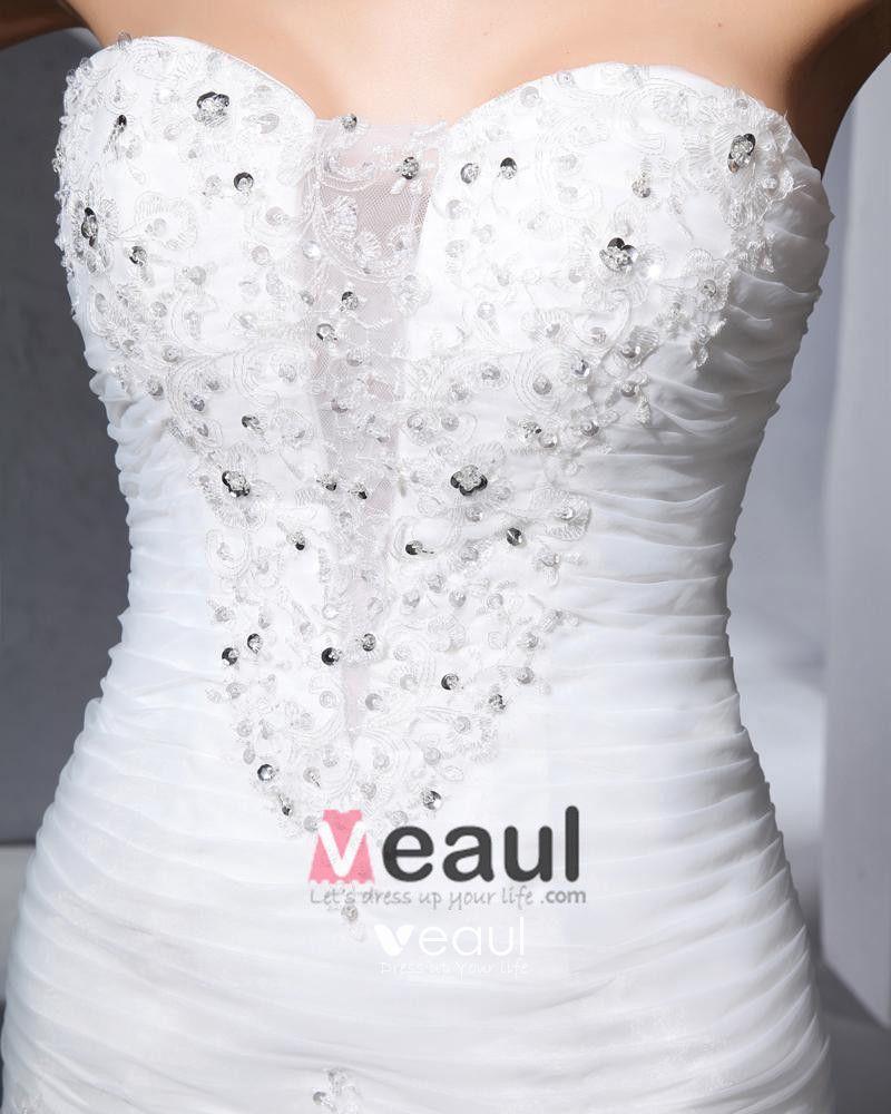 Beautiful Beading Ruffle Sweetheart Floor Length Court Train Organza Satin A Line Wedding Dress