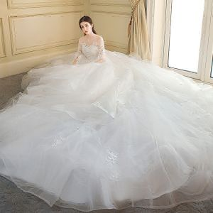 Chic / Beautiful Ivory Cascading Ruffles Wedding Dresses 2018 Ball Gown Lace Appliques Embroidered Scoop Neck Backless 1/2 Sleeves Royal Train Wedding
