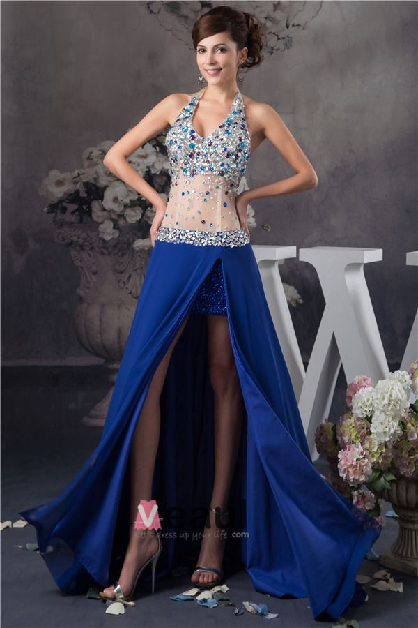 Sexy Bling Halter Crystal Tulle Split Front Prom Dress