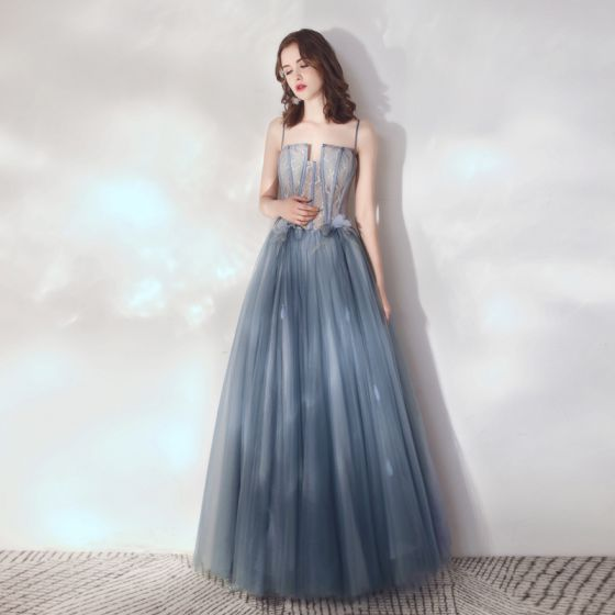 Encantador Océano Azul Vestidos de gala 2019 A-Line / Princess Raro Spaghetti Straps Con Encaje Flor Apliques Sin Mangas Sin Espalda Largos Vestidos Formales