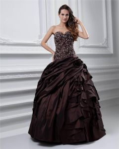 Ball Gown Sweetheart Beading Ruffle Floor Length Taffeta Quinceanera Prom Dress