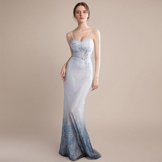 fa59081fc Sexy Azul Cielo Degradado De Color Marino Oscuro Vestidos de noche 2018  Trumpet   Mermaid Sin Mangas ...