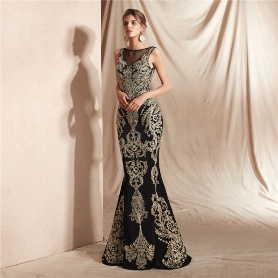 Elegant Black See-through Evening Dresses  2020 Trumpet / Mermaid Square Neckline Sleeveless Appliques Lace Beading Floor-Length / Long Formal Dresses