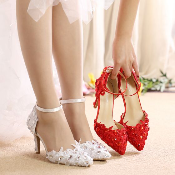 Chic / Beautiful White Wedding Shoes 2019 Crystal Lace Flower Ankle Strap 8 cm Stiletto Heels Pointed Toe Wedding High Heels